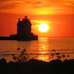 Sunset at Lorain Lighthouse near Cleveland Ohio