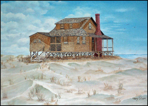 An oil painting of a beach house in Nags Head that I did.