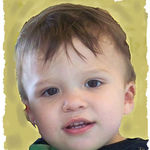 Baby rendered as oil painting