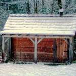 McLean Mill cabin on a snowy day