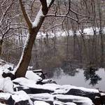 first snowfall on the river
