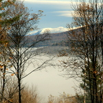 Fog in the valley, snow on the mountain.