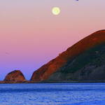 Moonset at Sunrise, Pt Mugu CA