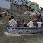 Pilgrims on a boat in Varanasi