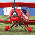 Red 2 Seater Plane, closeup