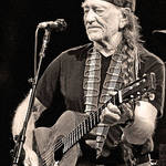 Willie Nelson in black and white