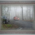 Vintage Fire Truck Emerging Through the Fog